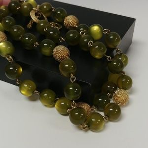 Crown Trifari Green and Gold Beaded Necklace